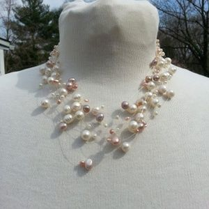 2 invisible necklaces in shades of pink pearls NWT